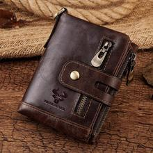 Fashion Men Wallet Genuine Leather Short Chain Wallets Male Multifunctional Cowhide Coin  Purse Mini Card Holder  Engraving