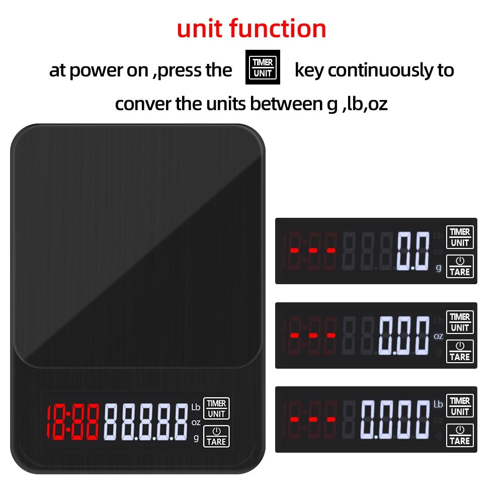 ЖК-дисплей электронный капельный Кофе цифровой шкалой Кухня весы с таймером Вес бытовые весы таймер Вес баланс кг/3 кг/5 кг/10 кг 0,1 г-1