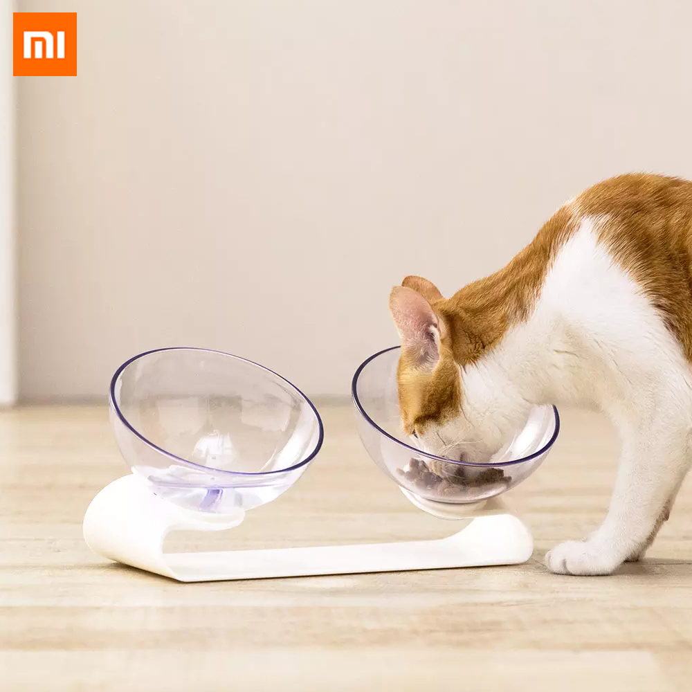 Xiaomi Pet Independent Double Bowl Tilting Design Pet Food Water Bowls Cats Dogs Feeders Dry Wet Grain Feeding Bowl Smart Home image