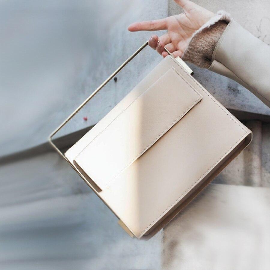 Caja de moda bolsos de mano de Metal para mujer bolsos de hombro de diseñador de cuero PU de lujo para mujer bolso bandolera para mujer bolsos pequeños Bolso para mujer 2019 nuevo estilo coreano bolso de mano de moda bolso de lona bolso bandolera