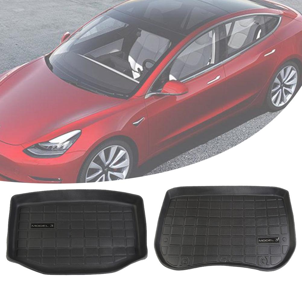 Auto Zubehör Stamm/Frunk Boden Matte Lagerung Matte Alle Wetter Schutz Heavy Duty Gummi Matte Kompatibel mit Tesla Modell 3
