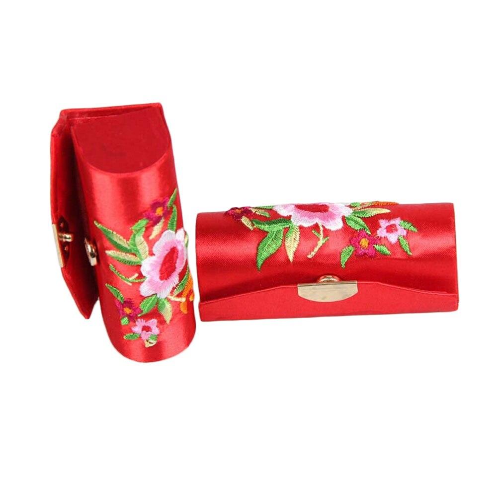 Travel Flower Design Retro Coin Lipsticks Case Brocade Embroidered Holder Box Random Color