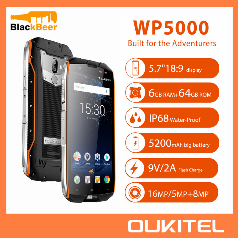 OUKITEL WP5000 5.7 Inch Smartphone IP68 Waterproof Android 7.1 Cellphone Helio P25 Octa Core 6GB 64GB ROM 5200mAh Mobile Phone