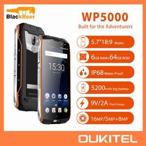 Image 1 - OUKITEL WP5000 5.7 אינץ Smartphone IP68 עמיד למים אנדרואיד 7.1 הסלולר Helio P25 אוקטה Core 6GB 64GB ROM 5200mAh נייד טלפון