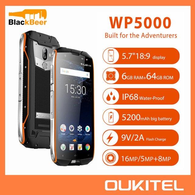 OUKITEL WP5000 5.7 אינץ Smartphone IP68 עמיד למים אנדרואיד 7.1 הסלולר Helio P25 אוקטה Core 6GB 64GB ROM 5200mAh נייד טלפון