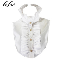 Women Victorian Vintage Palace Half Shirt Blouse Stand-Up Ruffles Fake Collar stylish lace up stand collar blouse