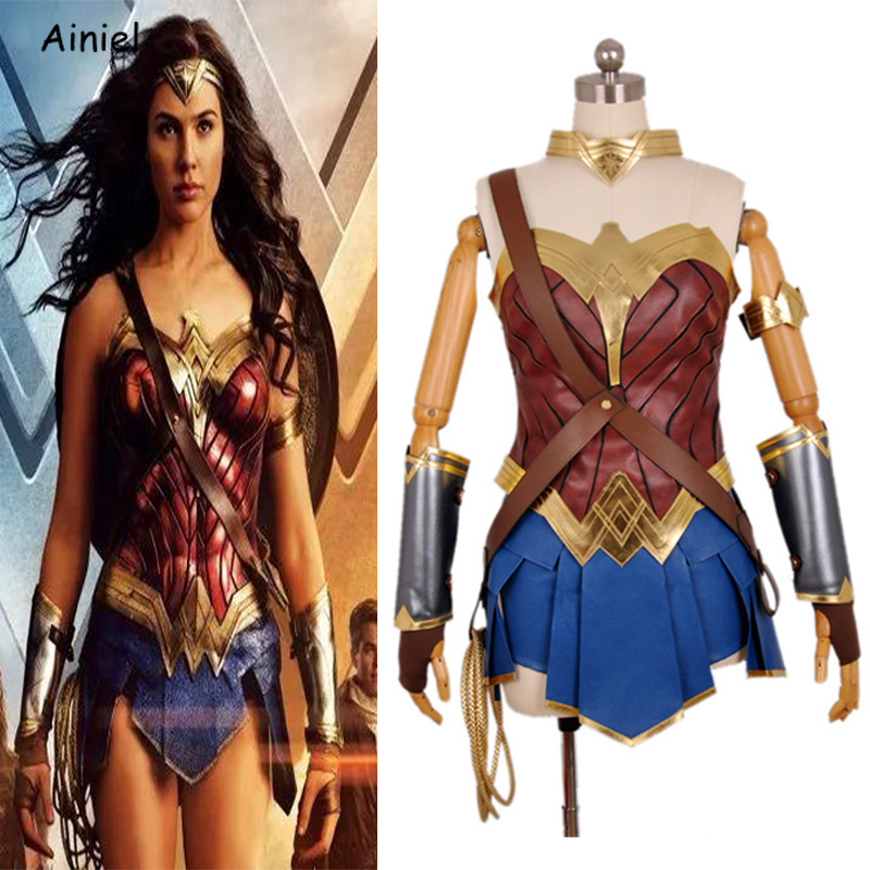 Ainiel Disfraz Wonder Woman Costume Justice League Cosplay Superhero Full Set Fancy Dress Halloween Party Suit Women Adult Girls