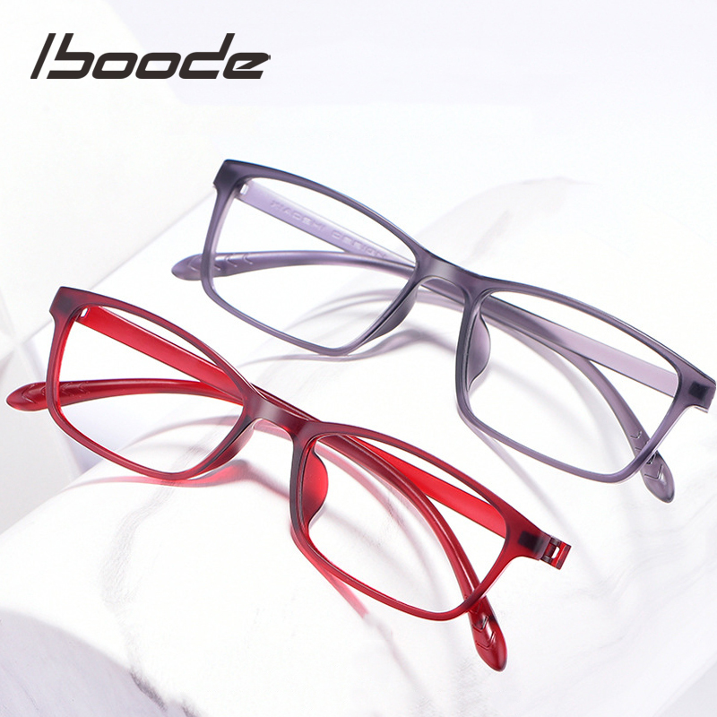 Iboode New Ultralight TR90 Square Reading Glassses Anti Blue Ray Business Reading Eyewear For Women Men Blue Light Blocking