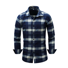 2019 New Plaid Shirt Fashion Long-sleeved Mens 100% Cotton Casual Business