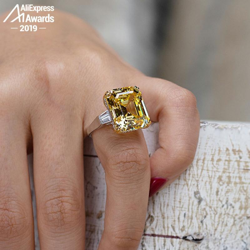 16*14mm taille émeraude pas faux S925 bague en argent Sterling SONA diamant Halo Fine citrine saphir améthyste rubis couleur diamant