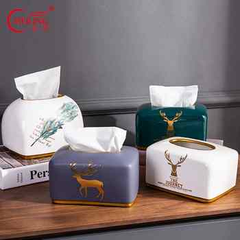 Nordic Home Decor Deer Napkin Paper Holder Ceramc Tissue Box For Room Hotel Restaurant Kitchen Utensils Table Storage Organizer - DISCOUNT ITEM  0% OFF All Category