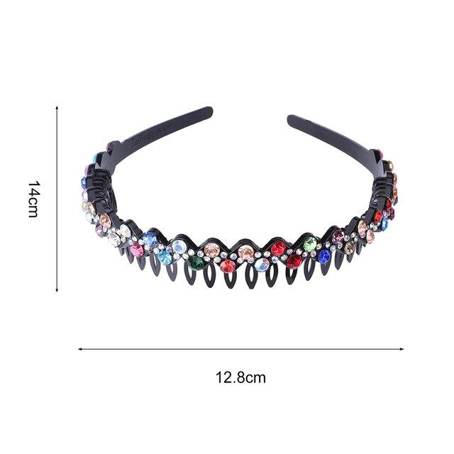 Unisex Alice Hairband Bezel Headband Men Women Sports Hair Band Hoop Top Metal Double Bangs Flower Rhinestone Hair Accessories 3