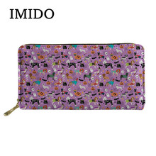 IMIDO Dogs Halloween Printing 2019 New Long Ladies Wallet Ladies Zip Wallet Coin Bag Crediet Card Holder Ladies Phone Holder(China)