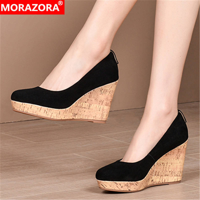 MORAZORA 2020 New Arrival Summer Women Pumps High Quality Sheepskin Wedges Shoes Fashion Platform High Heels Ladies Shoes