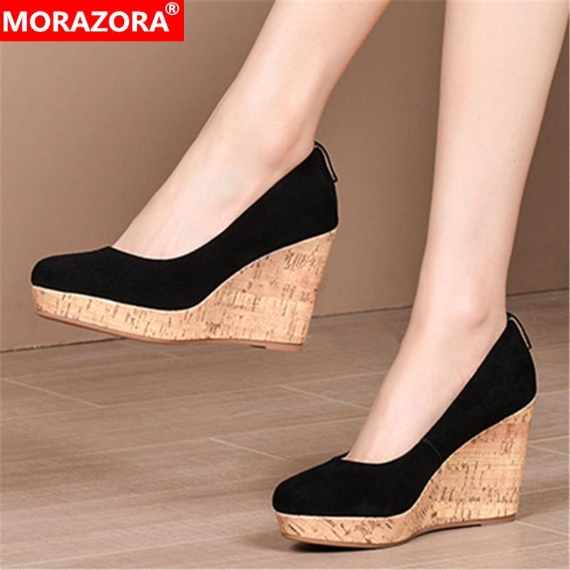 MORAZORA 2020 New Arrival Summer Women Pumps High Quality Sheepskin Wedges Shoes Fashion Platform High Heels Ladies Shoes