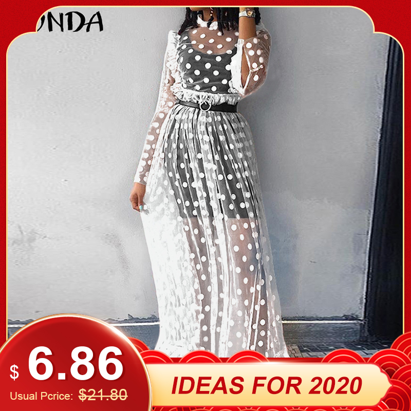 VONDA Holiday Lace Dress Bohemian Women Vintage Dot Print Hollow Floor-Length Dress 2019 Sexy Party Vestido Robe Femme Plus Size
