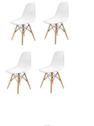 Набор из 4 современных обеденных стульев с скандинавским дизайном и средневековым стилем, с твердой деревянной стопой, подходит для столово...