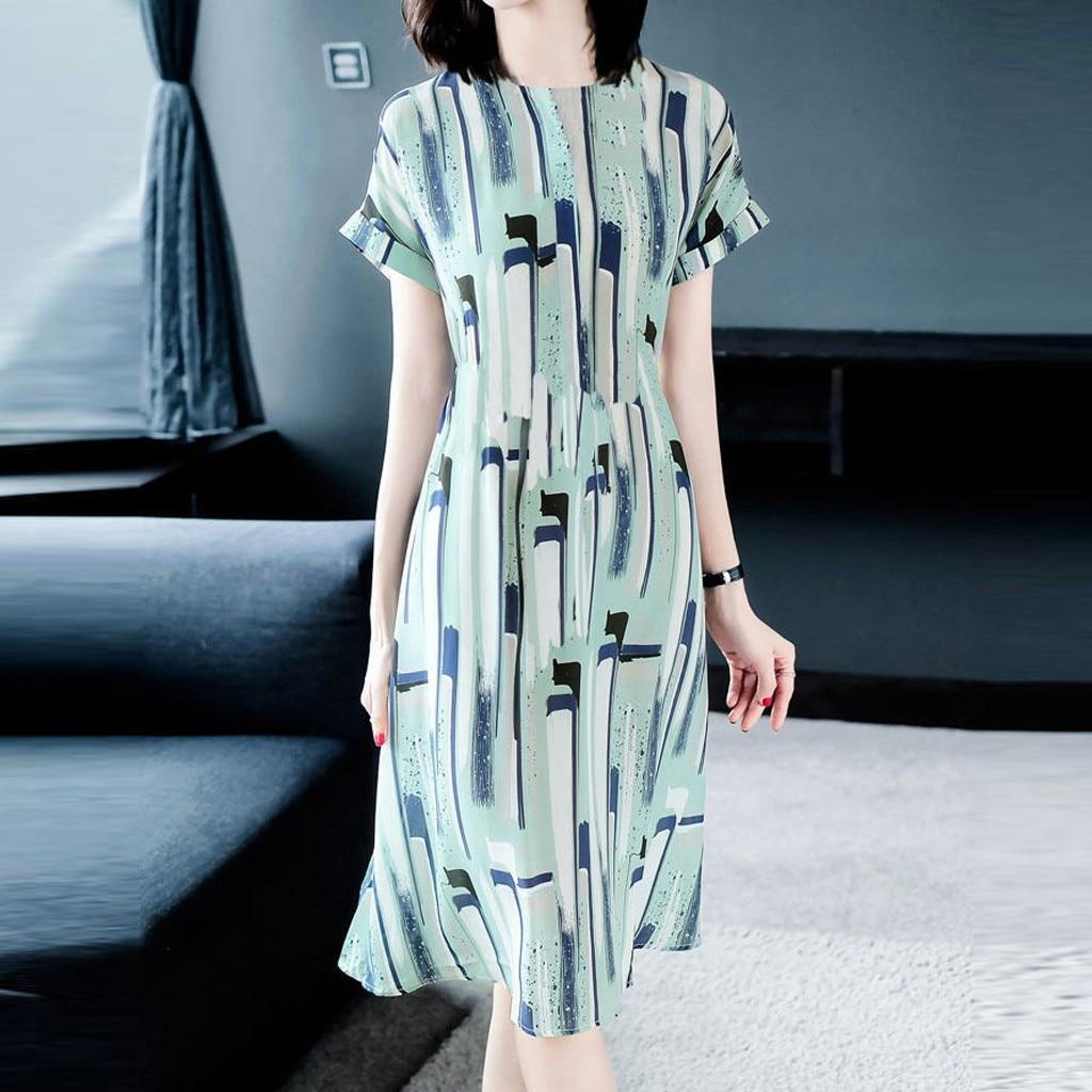 Women Dress 2020 summer dresses Fashion Summer Lady Elegant O-Neck Short Sleeve Stripe Printed Dress Elastic Casual Dresses PPY