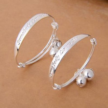 Cute Silver Plated Baby Bracelet Alphabet Printed Small Bell Design Bracelet Baby Bangle(China)