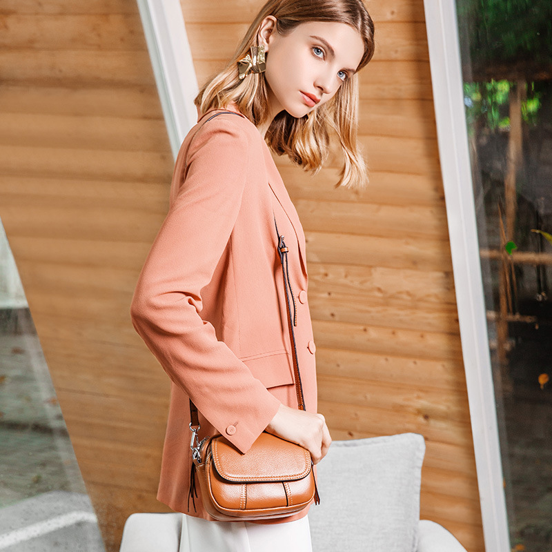 2019 Spring And Summer New Style Europe And America Fashion Women's Small round Bag Fashion Full-grain Leather Hand Shoulder WOM