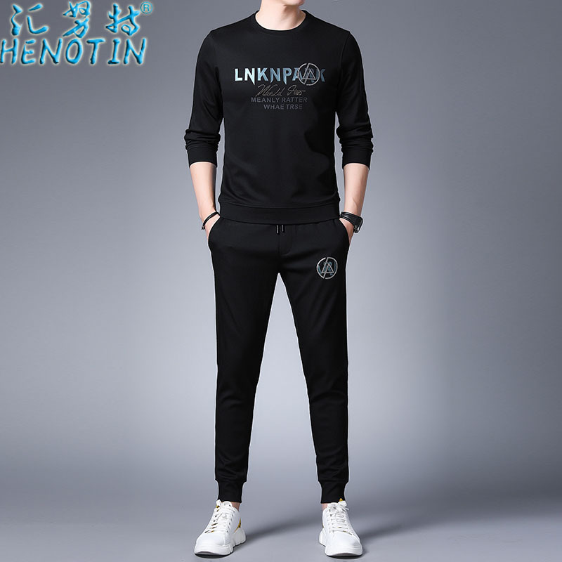 Sink Knut Genuine Product Spring New Style Long-sleeve Sweater Set Two-Piece Set Sports Handsome Men'S Wear Loose Casual Fashion