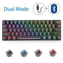 60% teclado mecânico 61 chave com fio/modo duplo sem fio escritório/jogo teclado azul/vermelho/chá/preto interruptor rgb retroiluminado para computador portátil
