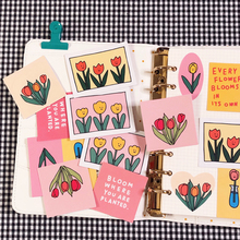 Korean Tulip Series Letters Flower Sticker Diy Hand-painted Simple Mobile Phone Notebook Labels Decorative Sticker Stationery