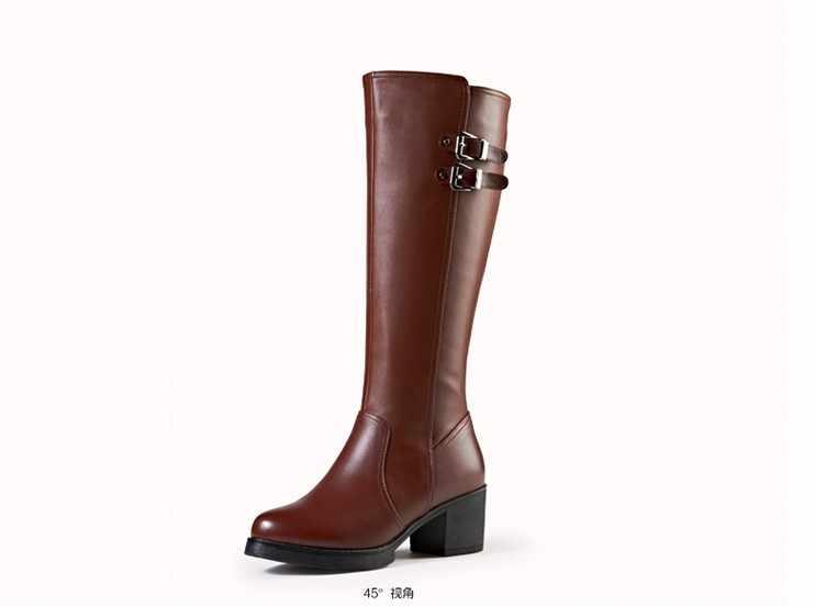 נשים של חם ראשון שכבה אמיתי פרה עור אמצע עגל רכיבה מגפיים שחור חום חורף רוכסן צד גבוה נעלי גודל 34-40 658CPC
