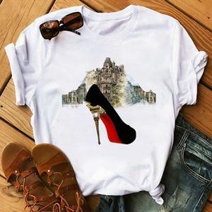 High Heels Shoes Print Vogue T Shirt Women Funny T Shirt Womens 90s Hip Hop Punk Shirt Hipster Streetwear Femme Tops Tee