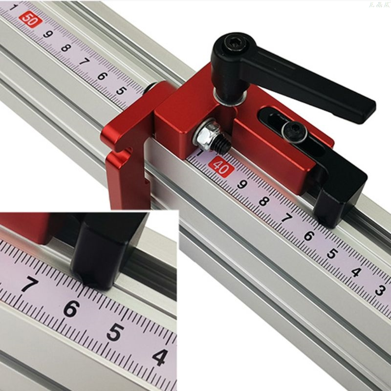 belupai 400mm Red Aluminum Alloy 45 Type T-Track Woodworking T-Slot Miter Track
