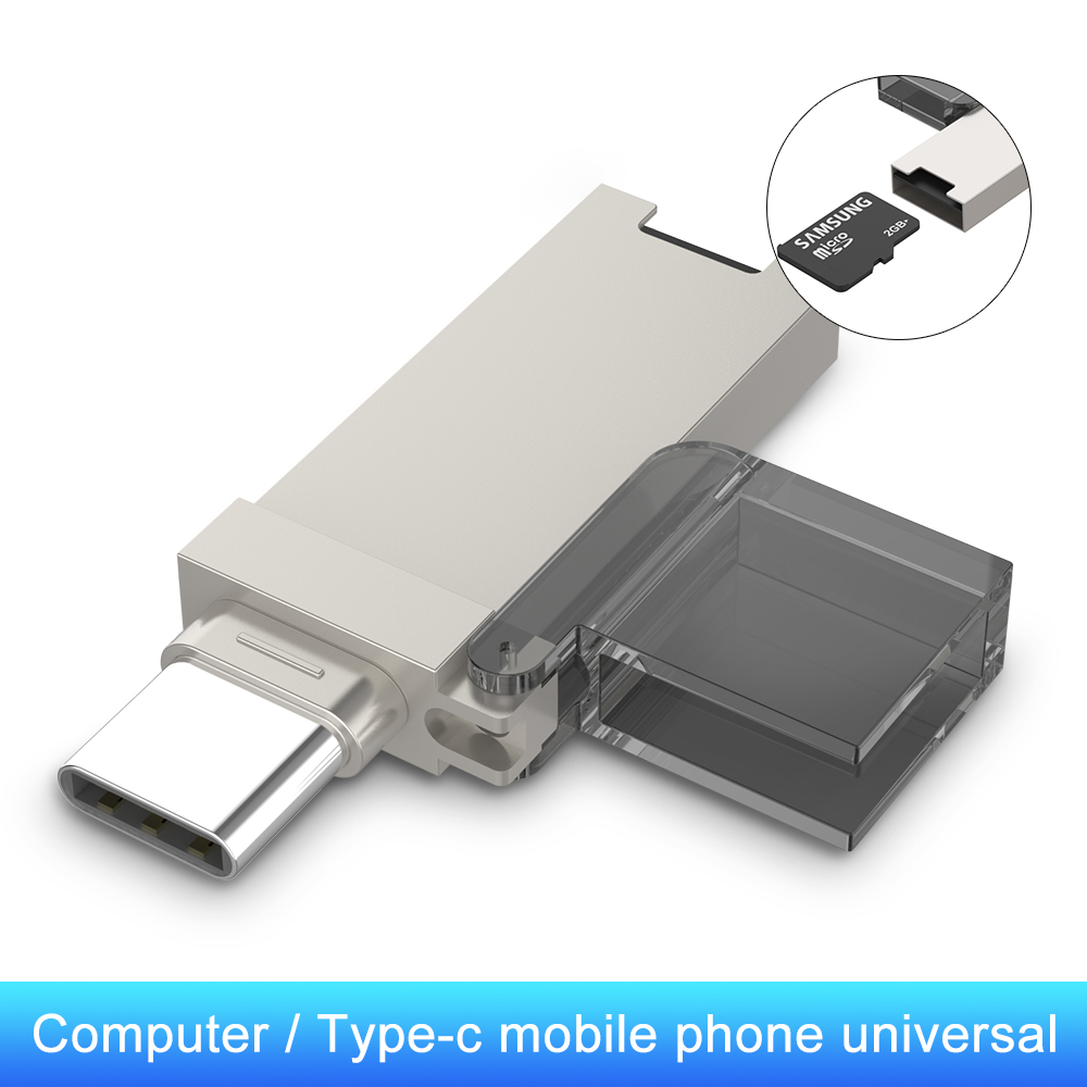Mini Type C Portable USB Card Reader OTG Adapter TF Card Slot Type-C Memory Card Reader For PC Laptop Computer Letv Huawei