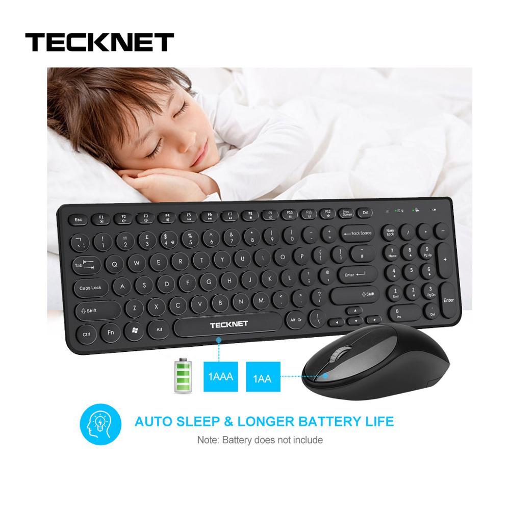 TeckNet Silent Wireless Keyboard With Mouse Combo Kit UK Layout Keyboards And Mouse Wireless 96 Keys For PC Computer Kit