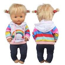 Terno bonito do arco-íris para 42 cm nenuco boneca 17 polegadas roupas de boneca do bebê
