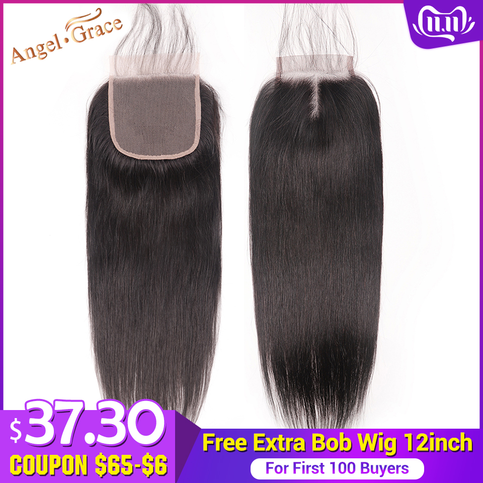 ANGEL GRACE Hair Brazilian Straight Hair Closure 4x4 Middle Part Medium Brown/ Transparent Lace Closure Remy Human Hair Closure