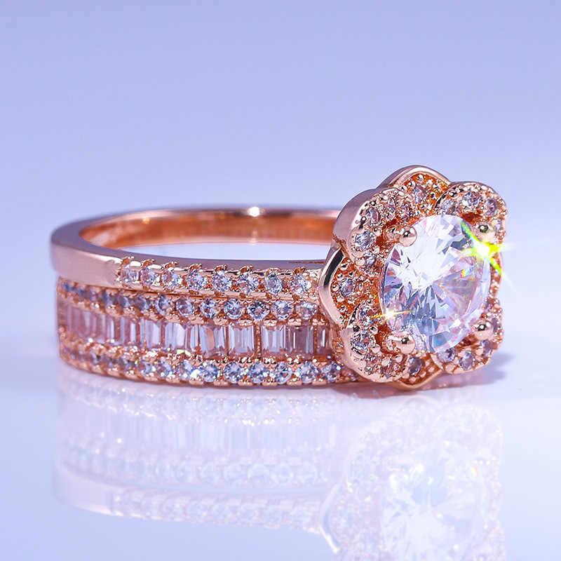 Mewah Wanita 925 Perak Kristal Zircon Ring Set Vintage Mawar Emas Cincin Pernikahan untuk Wanita Bunga Bridal Cincin Pertunangan