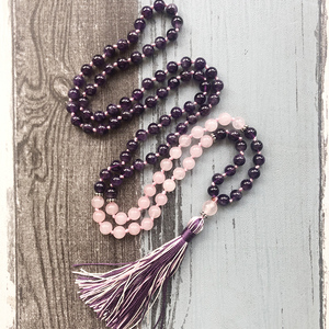 Image 4 - Amethysts Rose Q uartz 108 Mala Necklace Knotted Tassel Jewelry Yoga Gift For Womens Mala Beads Necklace Spiritual Boho Jewelry