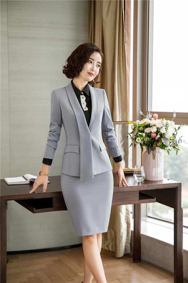 Elegant Grey Autumn Winter Formal Women Business Suits With Blazer And Skirt Professional Ladies Office Blazers Outfits Set