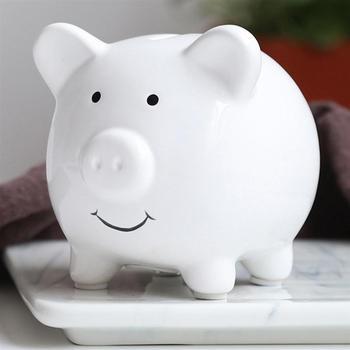 Hucha de cerámica bonita, hucha personalizada para ahorrar dinero, hucha s delicada para decoración del hogar de guardería para niños (blanco)