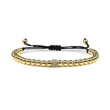 New Design Cube Adjustable Mens Bracelet Handmade Weave 5mm Copper Beads Bangles Women Luxury Jewelry Male Homme Bileklik Gift