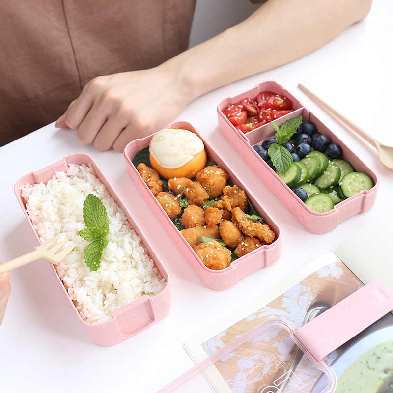 900ml taşınabilir sağlıklı malzeme yemek kabı 3 katmanlı buğday samanı Bento kutuları mikrodalga yemek gıda saklama kabı Foodbox