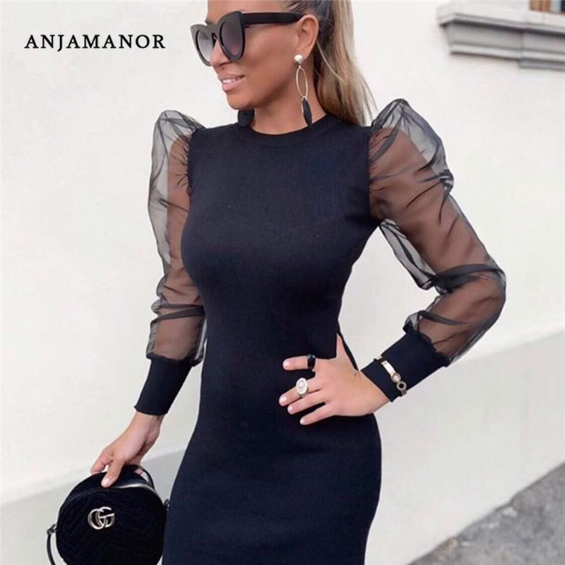 ANJAMANOR Puffy Mesh Long Sleeve Bodycon Dress Sexy Vintage Mini Dresses Woman Party Night Club Evening Wear Winter 2019 D83-I32