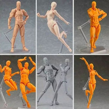 14cm artist Art painting Anime figure Sketch Draw Male Female Movable body chan joint Action Figure Toy model draw Mannequin(China)