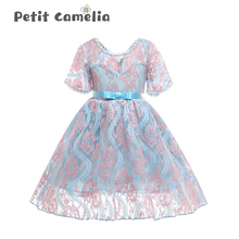 Girls Summer Dress Children Cool Breathable Lace Princess Dress Birthday Party Girls Embroidery Dress Banquet Party Costume 2017new china traditional red color girls children princess dress embroidery lace wedding birthday party ceremony dress for kids