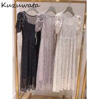Kuzuwata 2021 NOVEDAD DE VERANO Vestidos O sólido cuello de manga de soplo de encaje Sexy de cintura alta Vestidos de moda japonesa mujeres traje