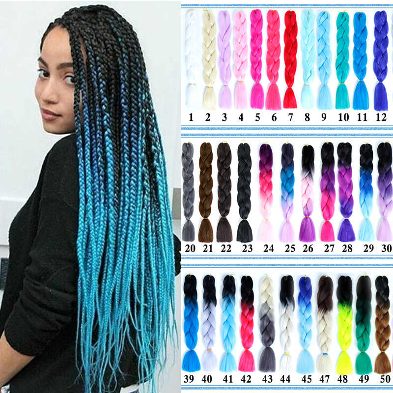 AOOSOO   super Long Ombre Jumbo Synthetic Braiding Hair Crochet Blonde Pink Blue red Grey Hair Extensions