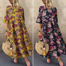 Vintage Printed Maxi Dress Women's Summer Sundress 2020 ZANZEA Casual Half Sleeve Floral Vestidos Female Pleated Robe Plus Size