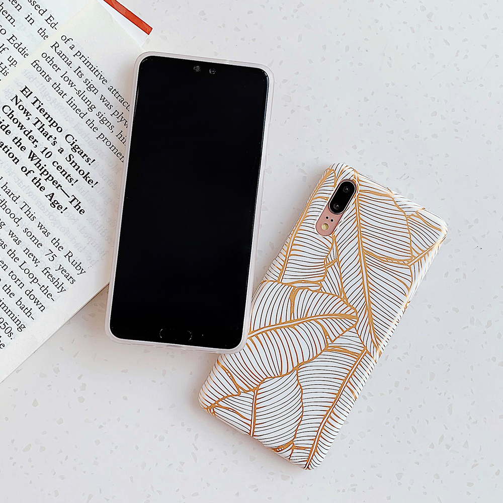 Electroplated Leaf Phone Case For Samsung Galaxy S20 S10 S9 Plus A51 A70 Note 10 Pro Matte Soft IMD Back Cover Coque