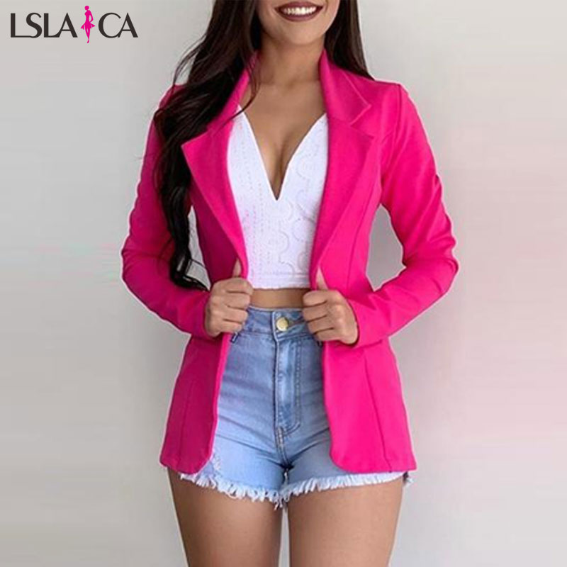 Ladies Blazer Solid Color Suit Collar Long Sleeve Women's Top New Fashion Casual Outerwear Autunmn Winter Office Suit Blazer