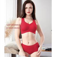 high grade Women Bra Boutique Female underwear Negative ions Quantum chip non trace rimless bra set Modal eamless Intimates