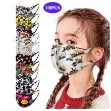 10 Pçs/lote Kids Crianças Máscaras Ao Ar Livre Algodão Estampado Cobertura Rosto Boca Máscara masque Máscaras Reutilizáveis Lavável lavable en tissus